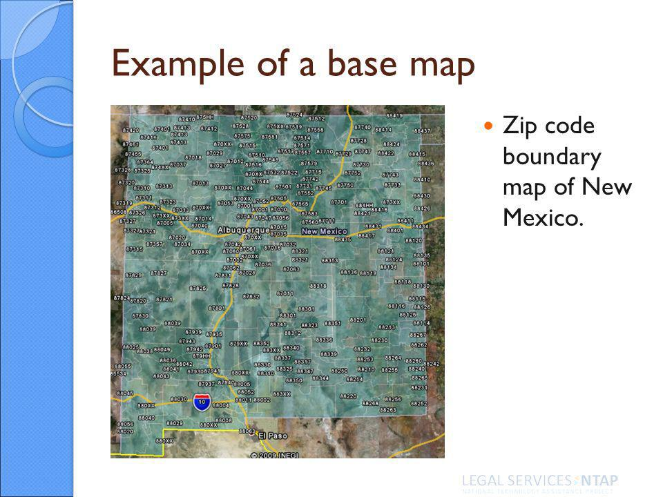 Example of a base map Zip code boundary map of New Mexico.