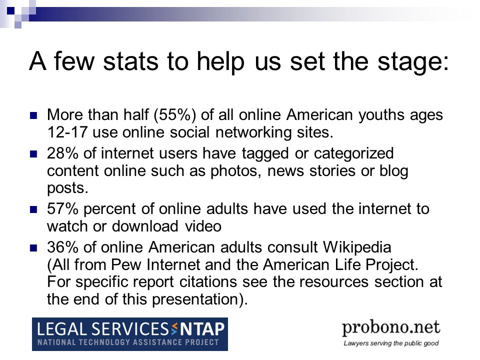 A few stats to help us set the stage: More than half (55%) of all online American youths ages 12-17 use online social networking sites.