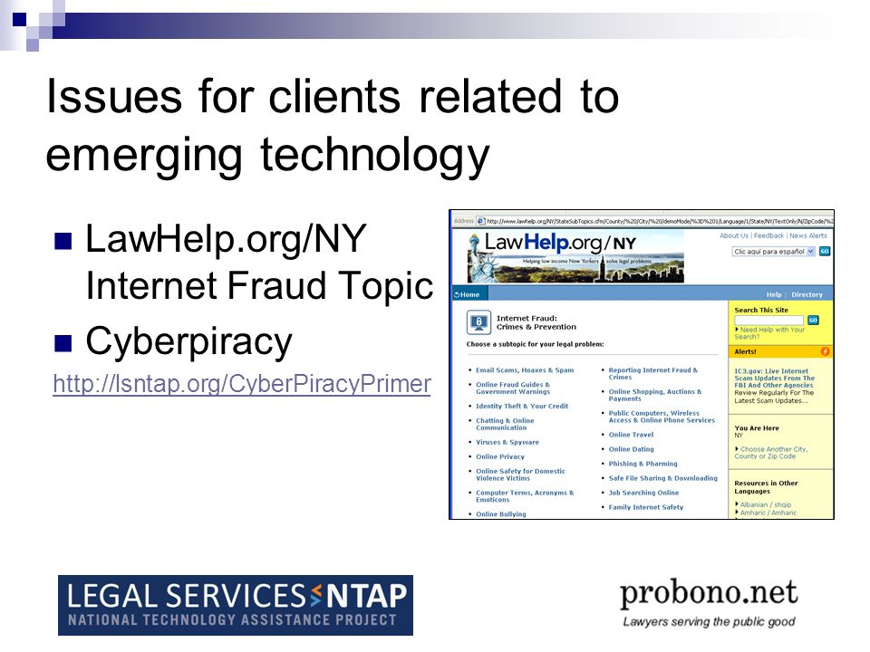 Issues for clients related to emerging technology LawHelp.org/NY Internet Fraud Topic Cyberpiracy http://lsntap.org/CyberPiracyPrimer