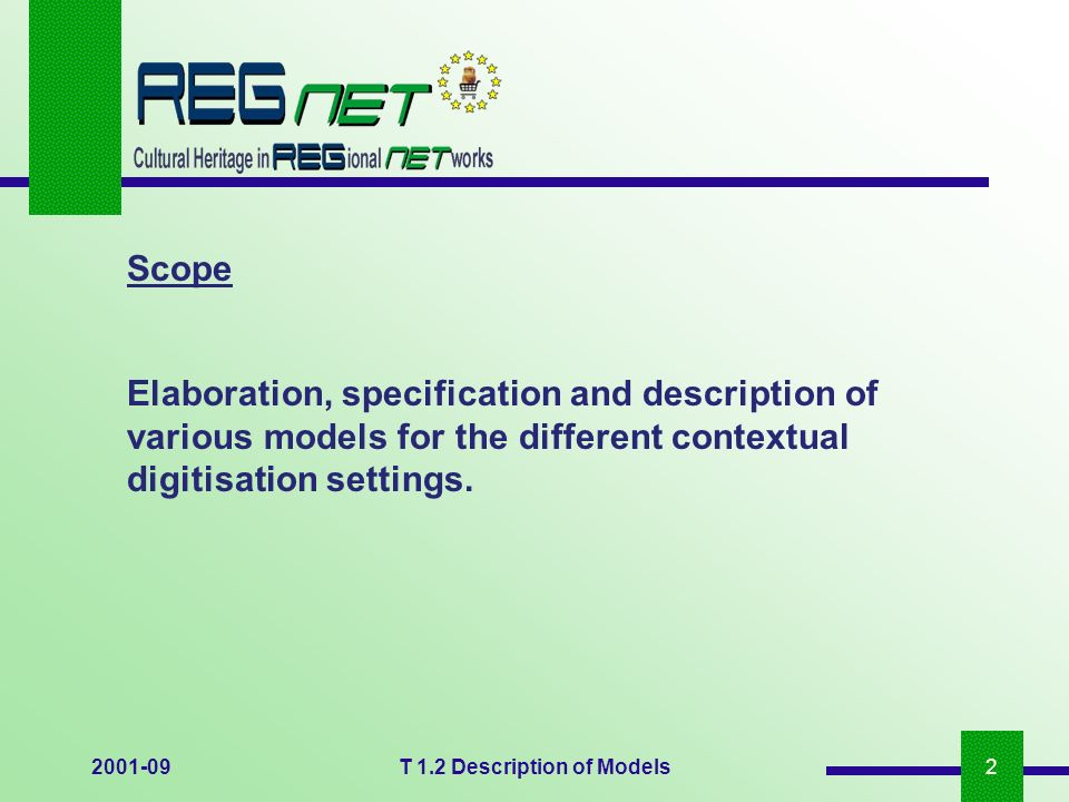 2001-09T 1.2 Description of Models2 Elaboration, specification and description of various models for the different contextual digitisation settings. S