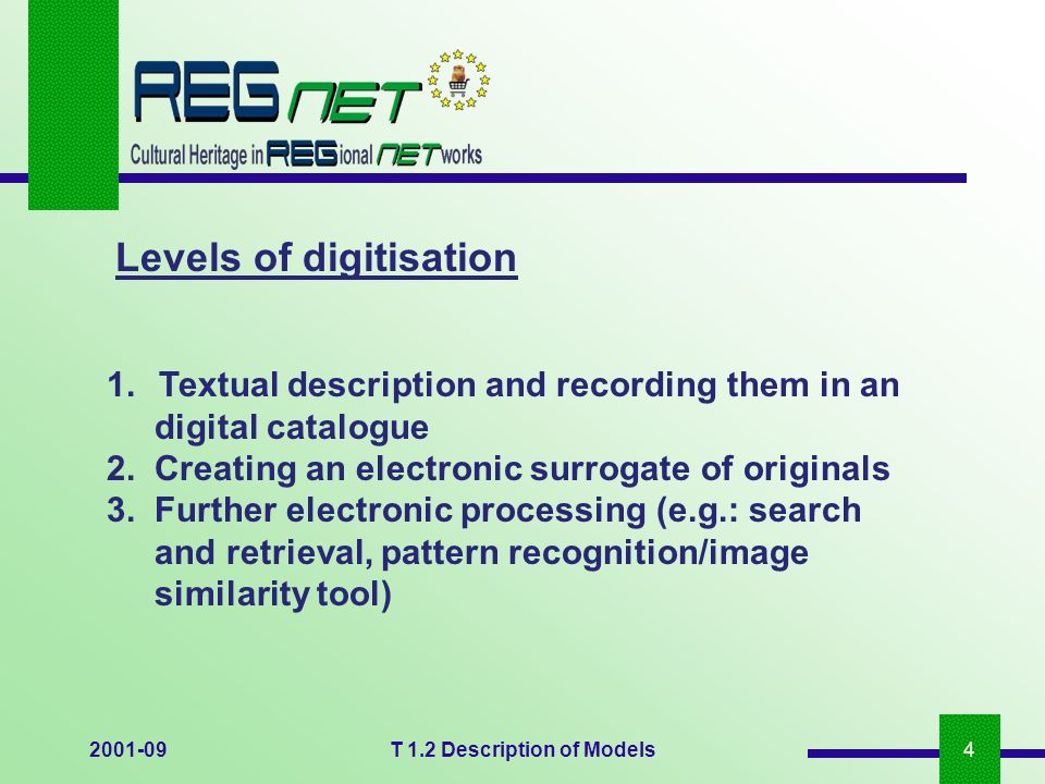 2001-09T 1.2 Description of Models4 1.Textual description and recording them in an digital catalogue 2. Creating an electronic surrogate of originals