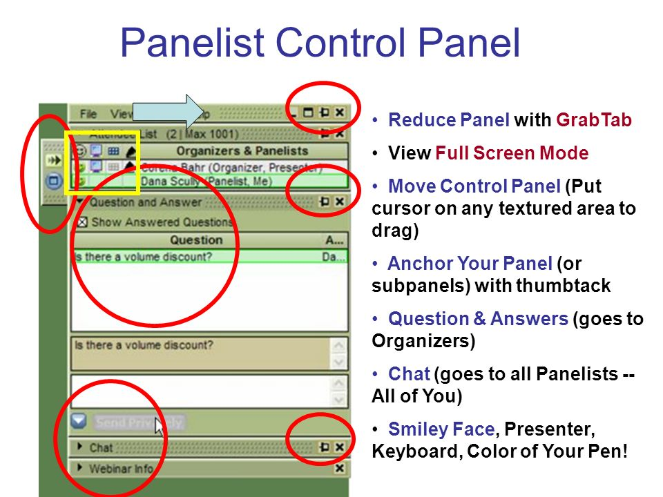 Panelist Control Panel Reduce Panel with GrabTab View Full Screen Mode Move Control Panel (Put cursor on any textured area to drag) Anchor Your Panel (or subpanels) with thumbtack Question & Answers (goes to Organizers) Chat (goes to all Panelists -- All of You) Smiley Face, Presenter, Keyboard, Color of Your Pen!