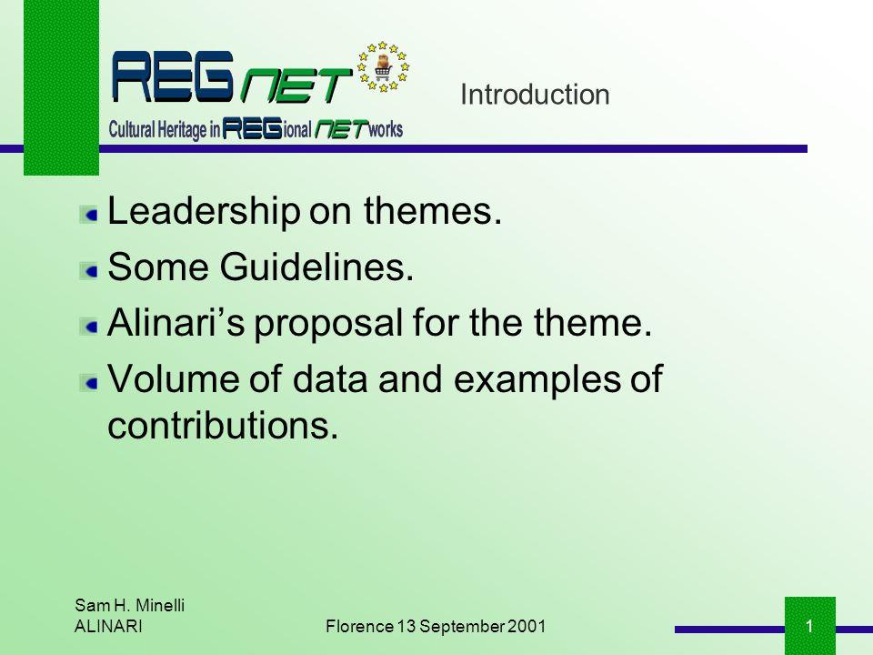 Sam H. Minelli ALINARIFlorence 13 September 20011 Introduction Leadership on themes.
