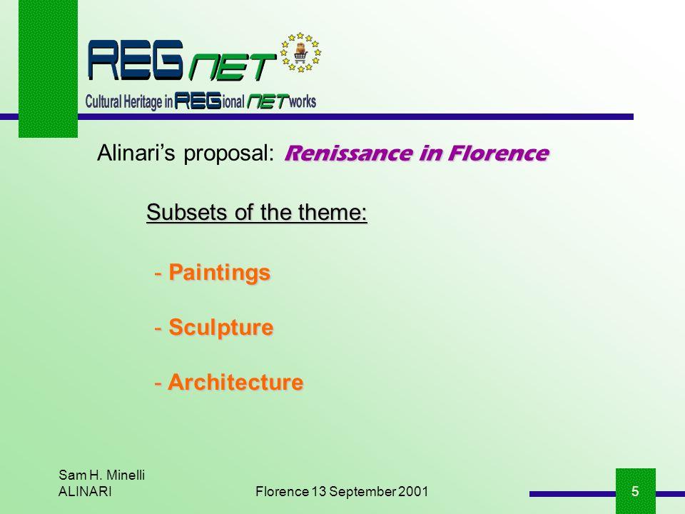 Sam H. Minelli ALINARIFlorence 13 September 20015 Renissance in Florence Alinaris proposal: Renissance in Florence - Paintings - Sculpture - Architect