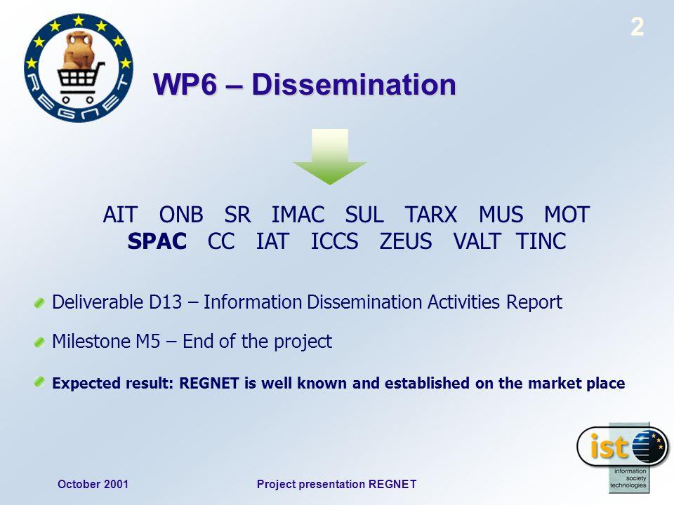 October 2001Project presentation REGNET 2 WP6 – Dissemination AIT ONB SR IMAC SUL TARX MUS MOT SPAC CC IAT ICCS ZEUS VALT TINC Deliverable D13 – Infor