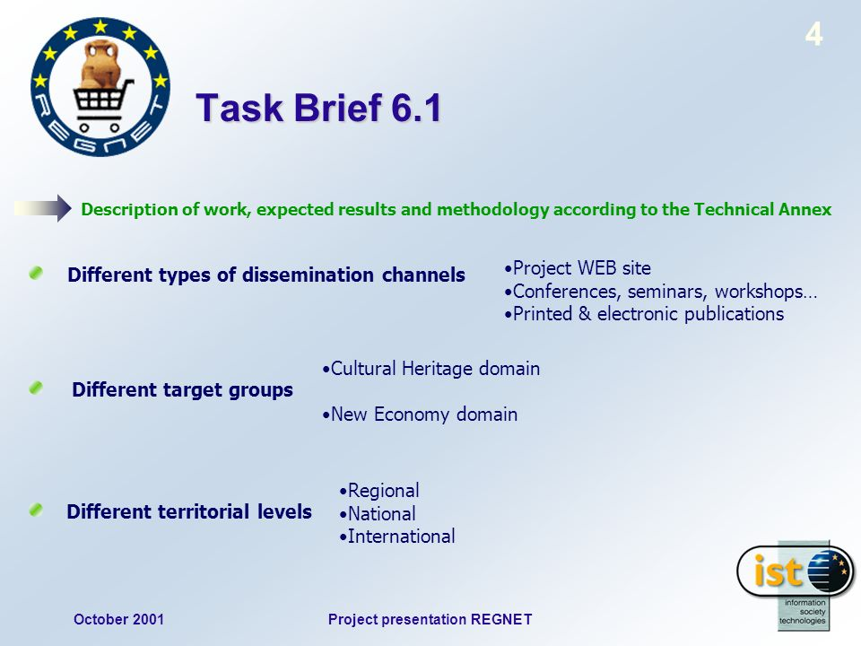 October 2001Project presentation REGNET 4 Task Brief 6.1 Description of work, expected results and methodology according to the Technical Annex Different types of dissemination channels Different target groups Different territorial levels Project WEB site Conferences, seminars, workshops… Printed & electronic publications Cultural Heritage domain New Economy domain Regional National International