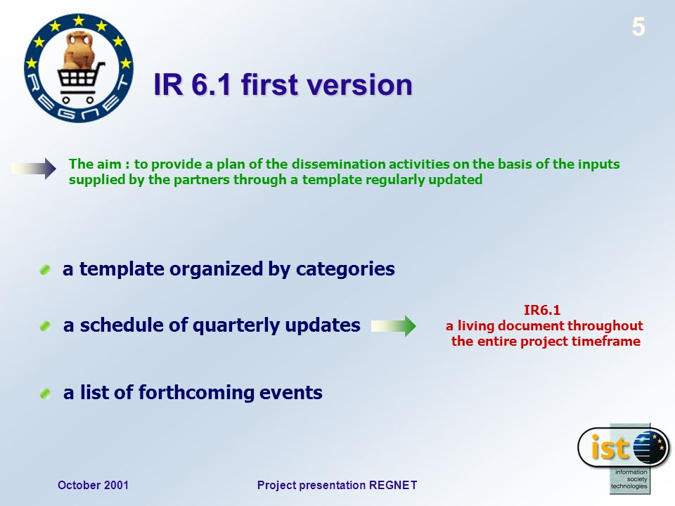 October 2001Project presentation REGNET 5 IR 6.1 first version The aim : to provide a plan of the dissemination activities on the basis of the inputs supplied by the partners through a template regularly updated a template organized by categories a schedule of quarterly updates a list of forthcoming events IR6.1 a living document throughout the entire project timeframe