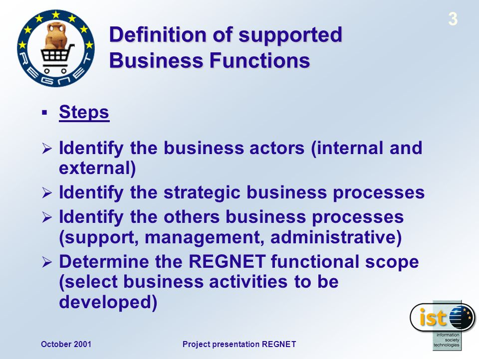October 2001Project presentation REGNET 3 Definition of supported Business Functions Steps Identify the business actors (internal and external) Identify the strategic business processes Identify the others business processes (support, management, administrative) Determine the REGNET functional scope (select business activities to be developed)