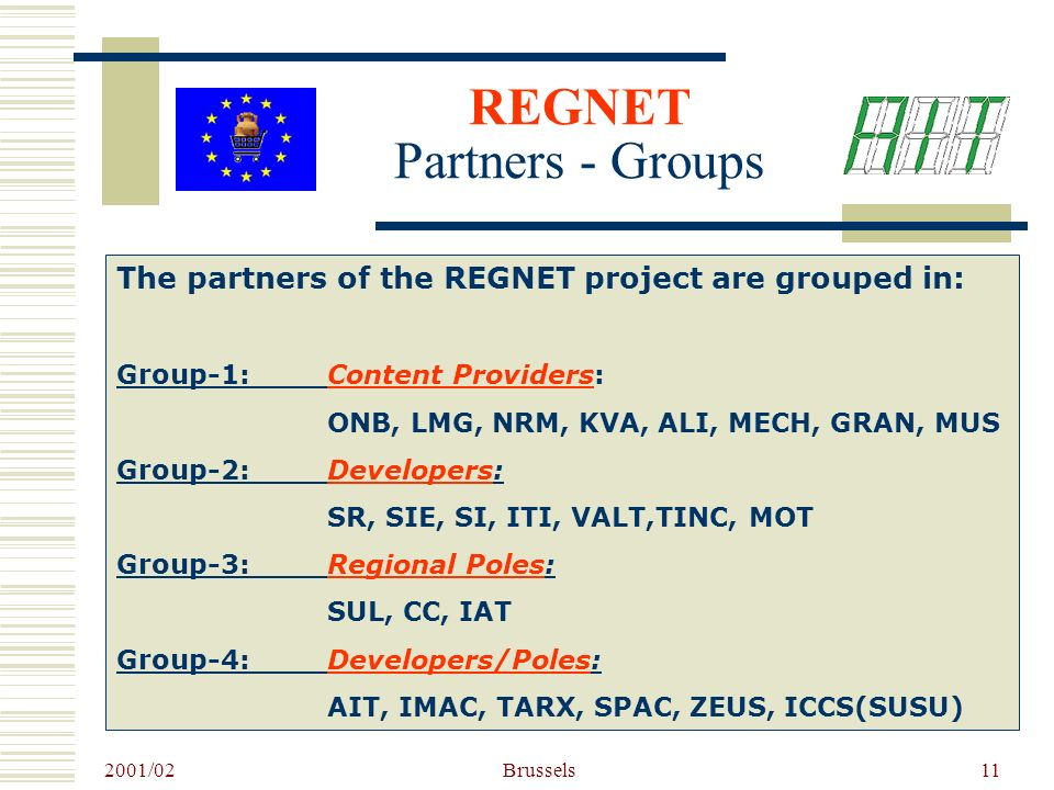 2001/02 Brussels11 The partners of the REGNET project are grouped in: Group-1: Content Providers: ONB, LMG, NRM, KVA, ALI, MECH, GRAN, MUS Group-2:Developers: SR, SIE, SI, ITI, VALT,TINC, MOT Group-3:Regional Poles: SUL, CC, IAT Group-4:Developers/Poles: AIT, IMAC, TARX, SPAC, ZEUS, ICCS(SUSU) REGNET Partners - Groups