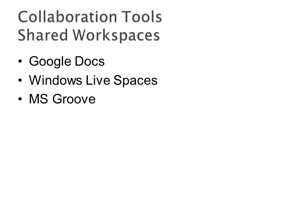 Google Docs Windows Live Spaces MS Groove