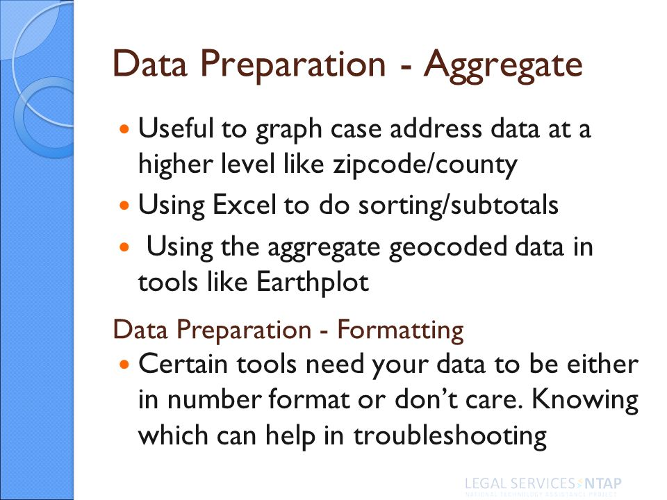 Useful to graph case address data at a higher level like zipcode/county Using Excel to do sorting/subtotals Using the aggregate geocoded data in tools like Earthplot Certain tools need your data to be either in number format or dont care.