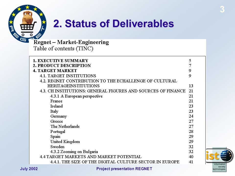 July 2002Project presentation REGNET 3 2. Status of Deliverables