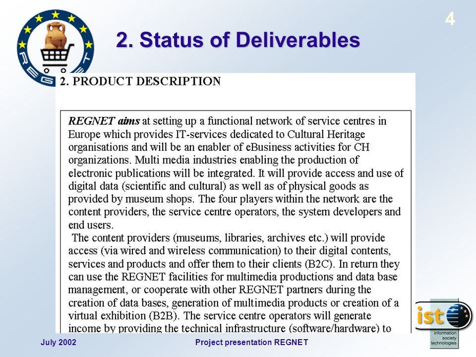 July 2002Project presentation REGNET 4 2. Status of Deliverables