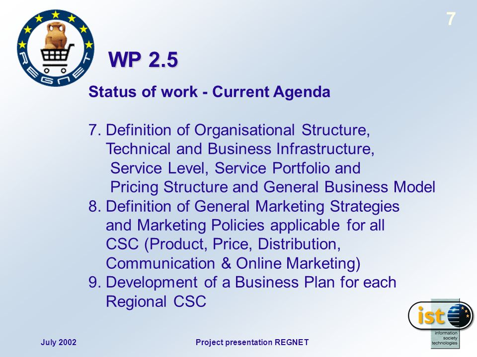 July 2002Project presentation REGNET 7 Status of work - Current Agenda 7.