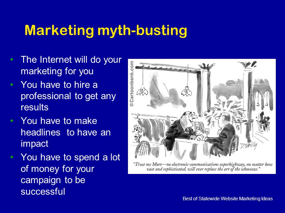 Best of Statewide Website Marketing Ideas Marketing myth-busting The Internet will do your marketing for you You have to hire a professional to get any results You have to make headlines to have an impact You have to spend a lot of money for your campaign to be successful