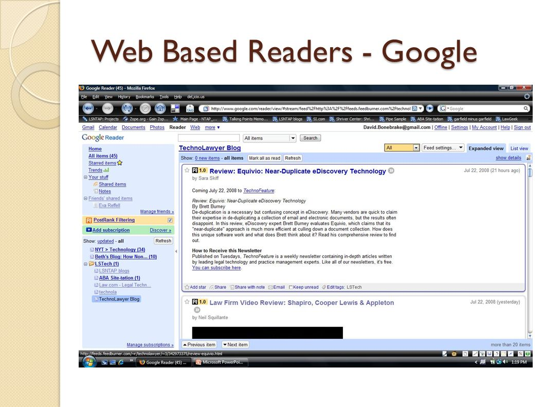 Web Based Readers - Google