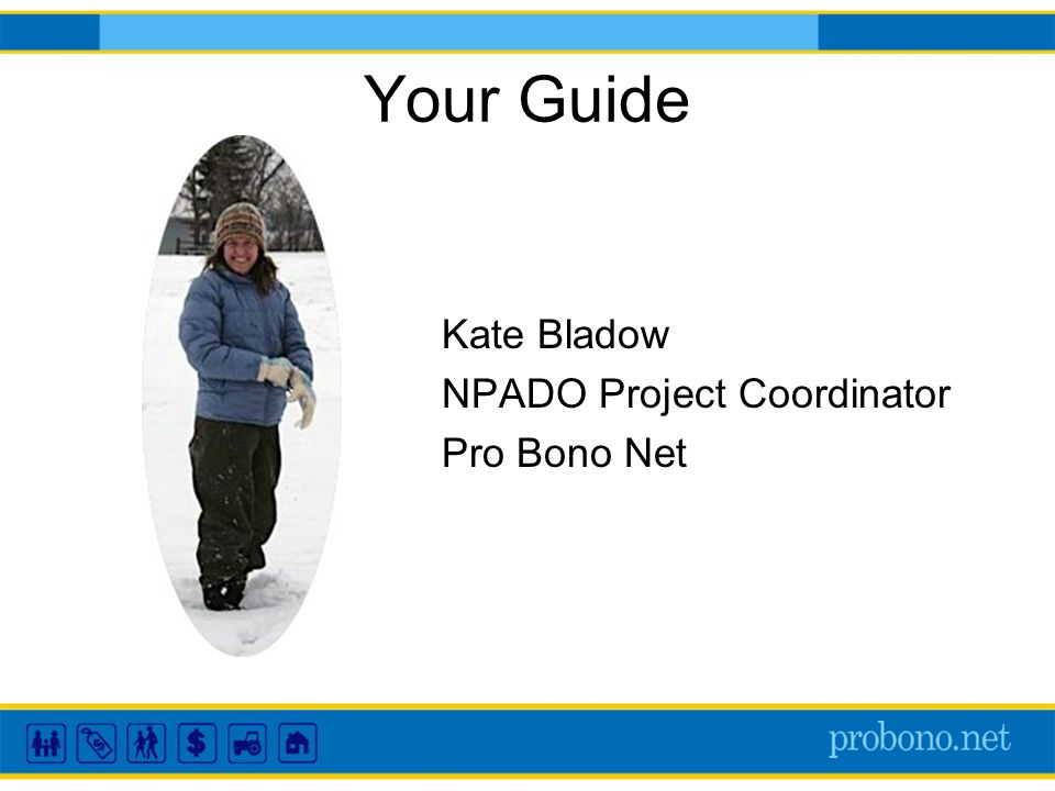 Your Guide Kate Bladow NPADO Project Coordinator Pro Bono Net