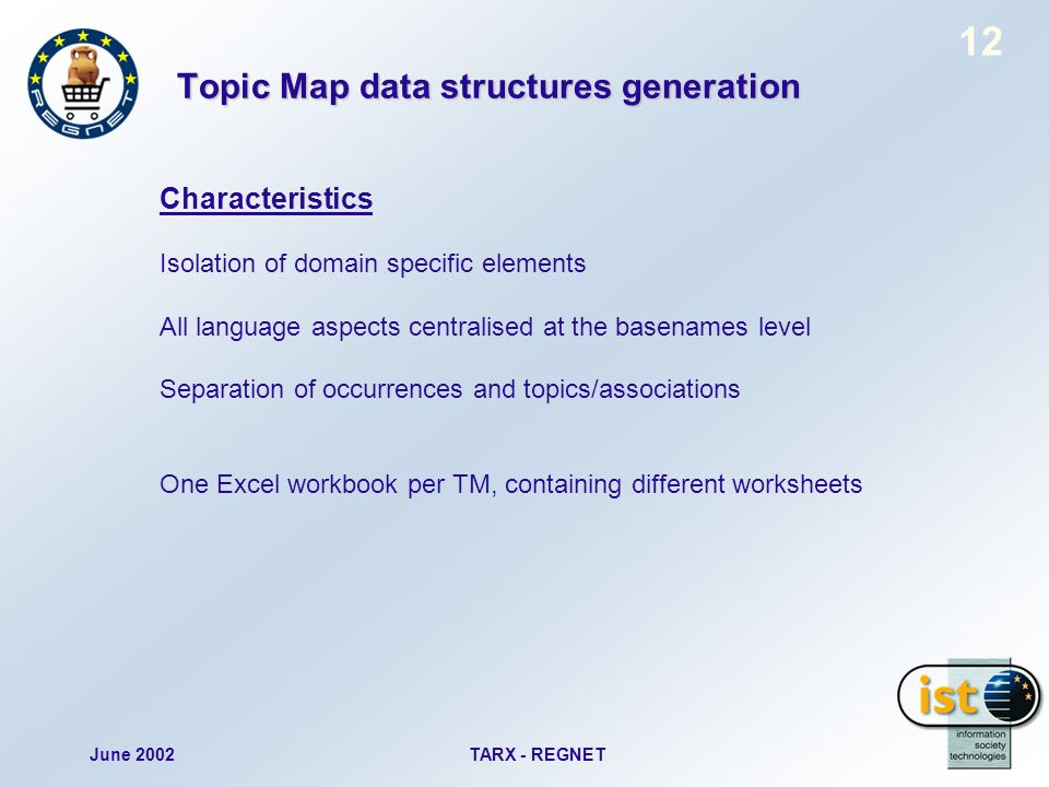 June 2002TARX - REGNET 12 Topic Map data structures generation Characteristics Isolation of domain specific elements All language aspects centralised