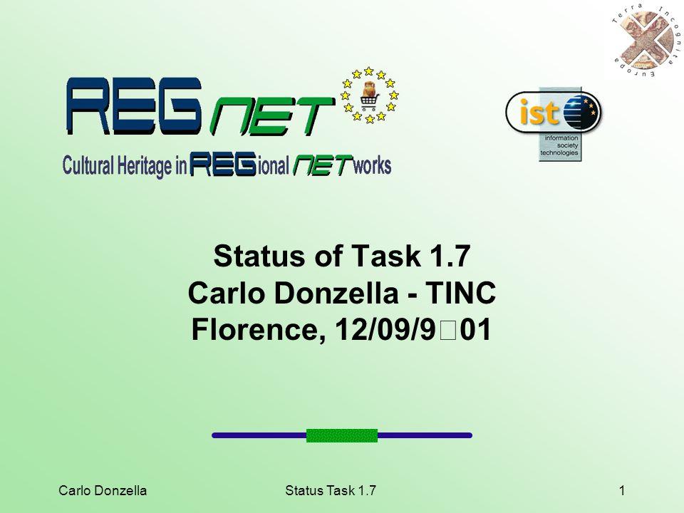 Carlo DonzellaStatus Task 1.71 Status of Task 1.7 Carlo Donzella - TINC Florence, 12/09/901