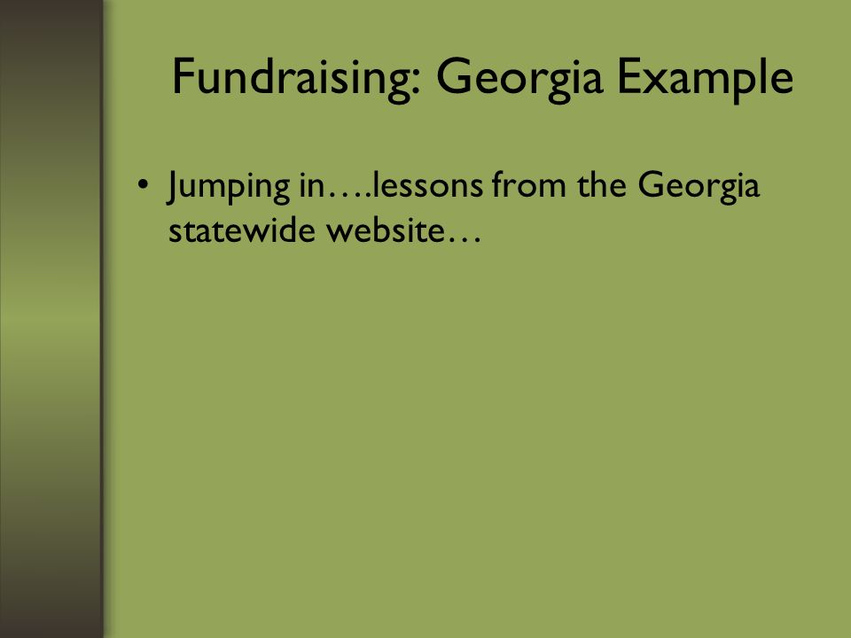 Fundraising: Georgia Example Jumping in….lessons from the Georgia statewide website…