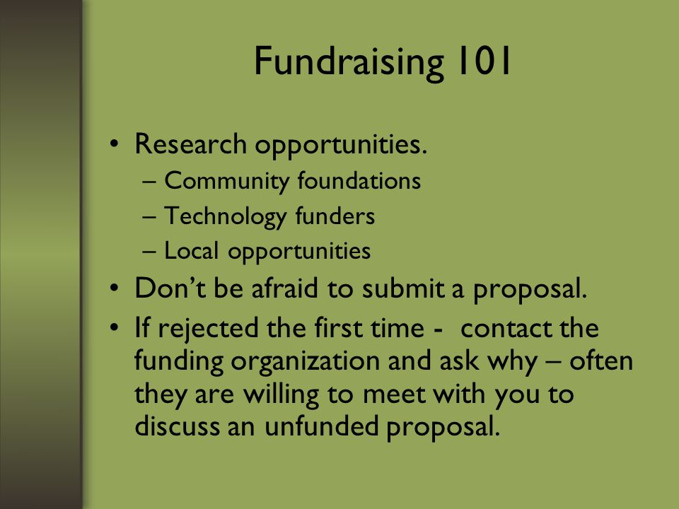 Fundraising 101 Research opportunities.