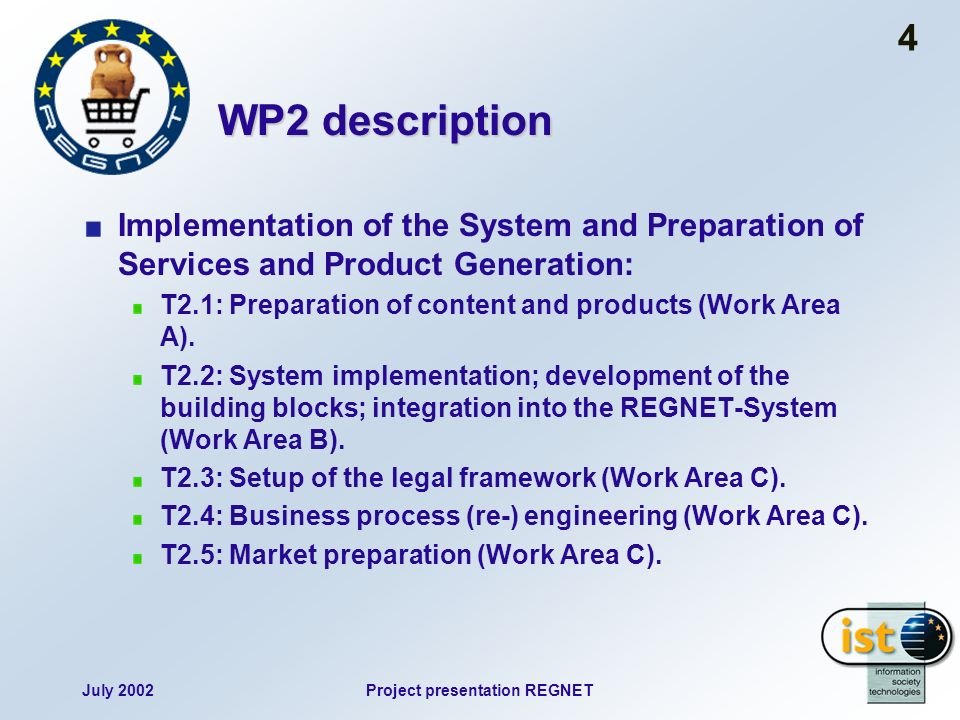 July 2002Project presentation REGNET 4 WP2 description Implementation of the System and Preparation of Services and Product Generation: T2.1: Preparat