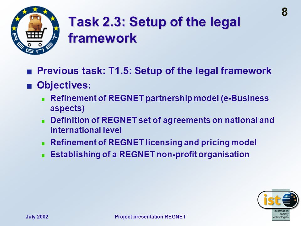 July 2002Project presentation REGNET 8 Task 2.3: Setup of the legal framework Previous task: T1.5: Setup of the legal framework Objectives : Refinemen
