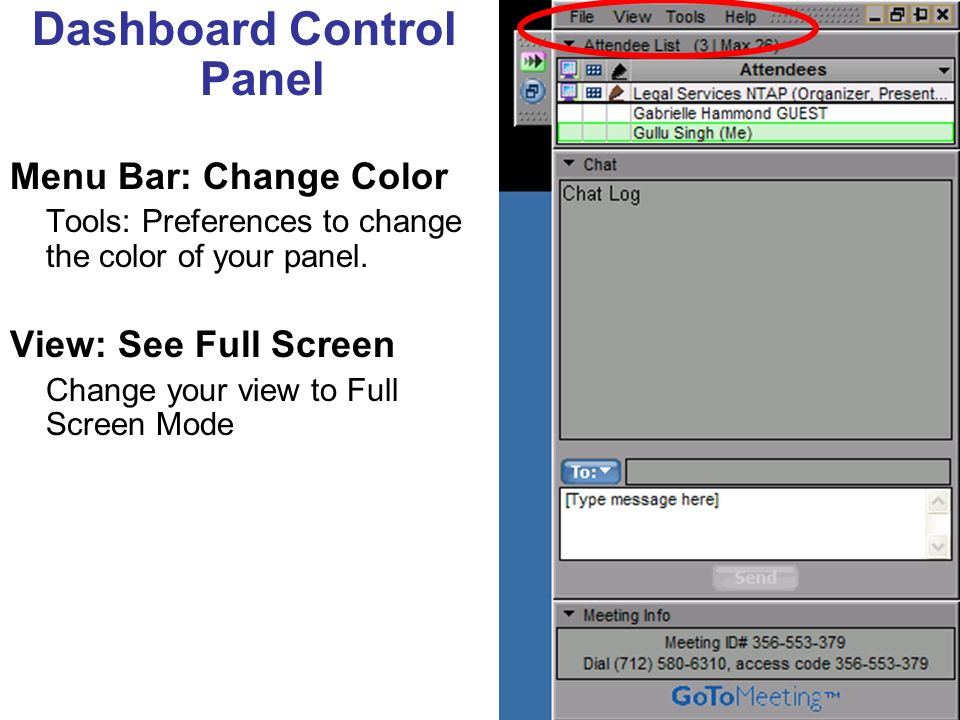 Dashboard Control Panel Menu Bar: Change Color Tools: Preferences to change the color of your panel.