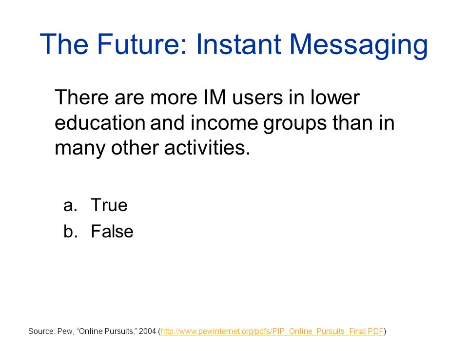 The Future: Instant Messaging There are more IM users in lower education and income groups than in many other activities.