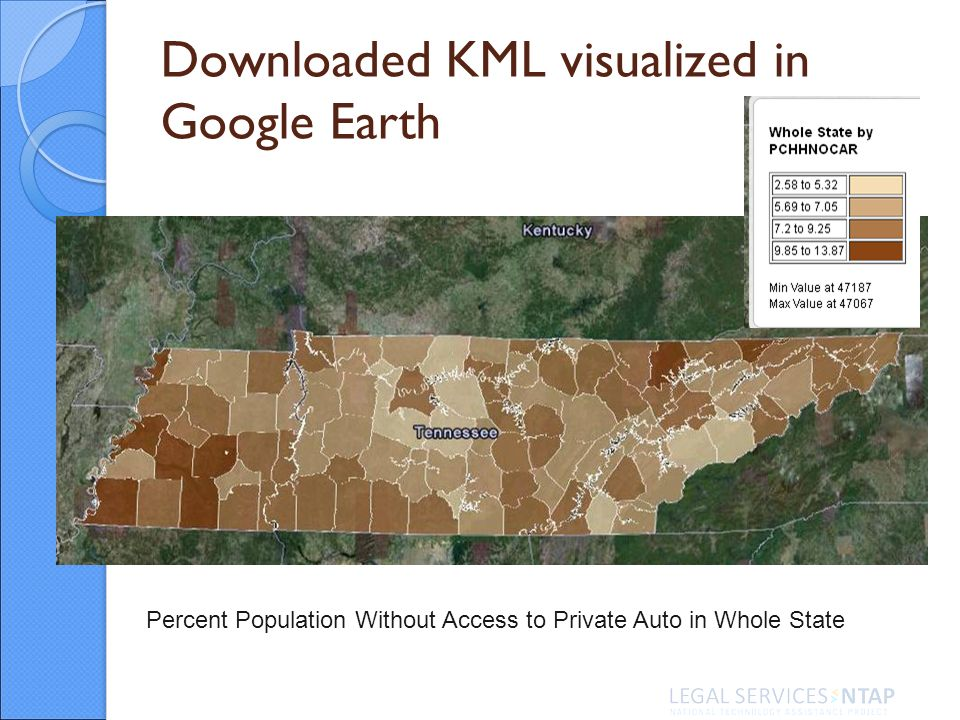 Downloaded KML visualized in Google Earth Percent Population Without Access to Private Auto in Whole State