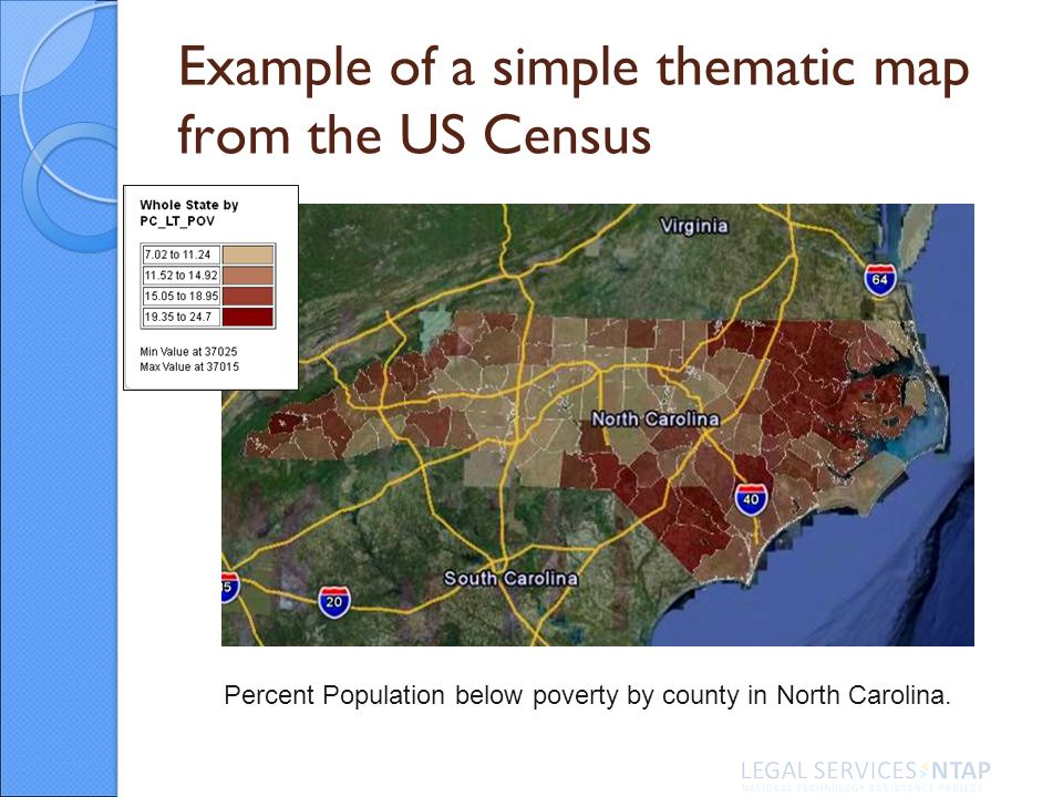 Example of a simple thematic map from the US Census Percent Population below poverty by county in North Carolina.