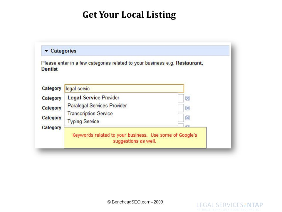 Get Your Local Listing © BoneheadSEO.com - 2009