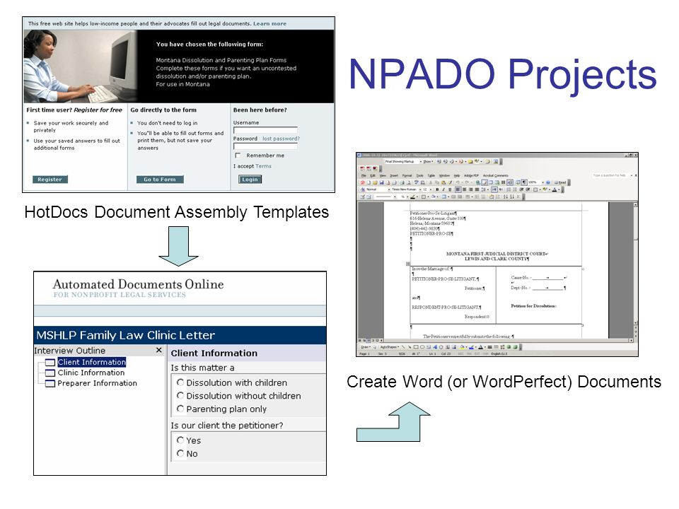 NPADO Projects HotDocs Document Assembly Templates Create Word (or WordPerfect) Documents