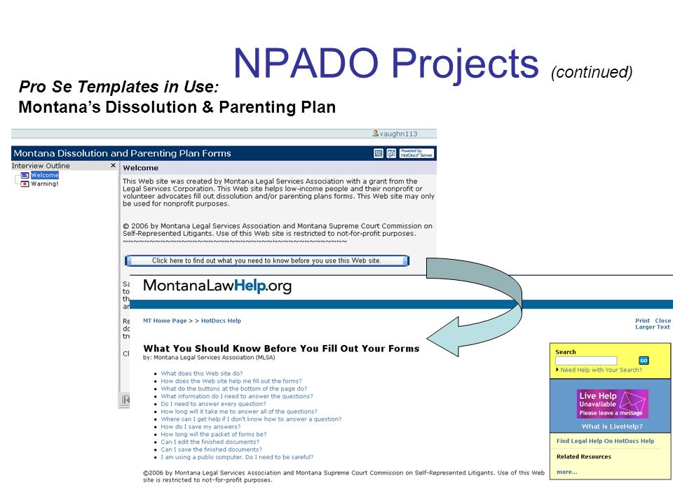 NPADO Projects (continued) Pro Se Templates in Use: Montanas Dissolution & Parenting Plan