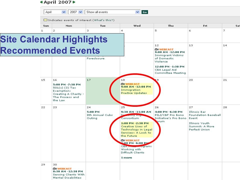 Site Calendar Highlights Recommended Events