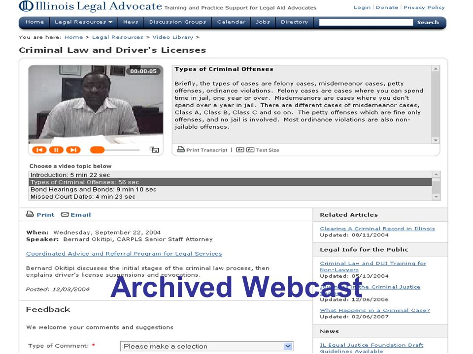 Archived Webcast