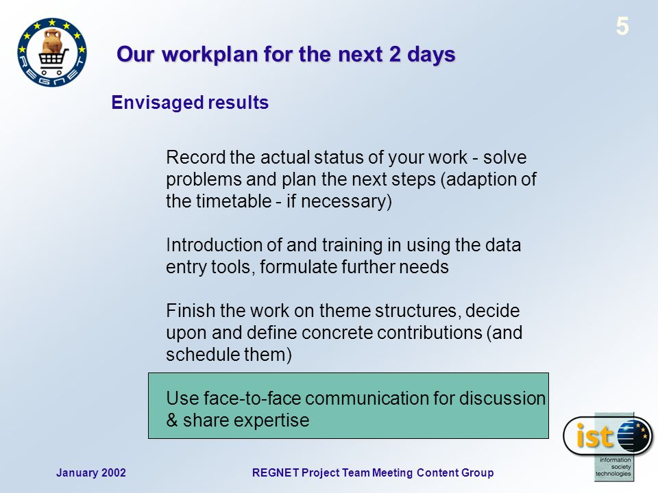 January 2002REGNET Project Team Meeting Content Group 6 Status reports Part 1: Status reports [all partners] 15:00 - 16:15 Please give a short presentation: - work done & actual status - main achievements - most important problems - critical points -...
