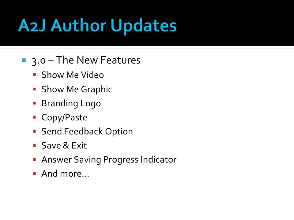 3.0 – The New Features Show Me Video Show Me Graphic Branding Logo Copy/Paste Send Feedback Option Save & Exit Answer Saving Progress Indicator And mo