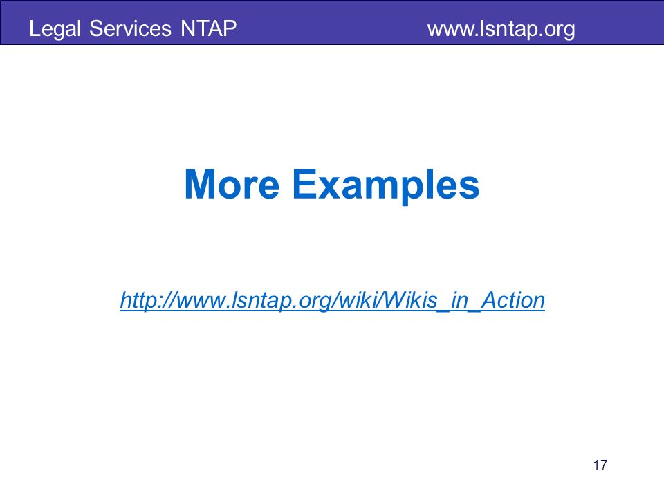 Legal Services NTAP   17 More Examples
