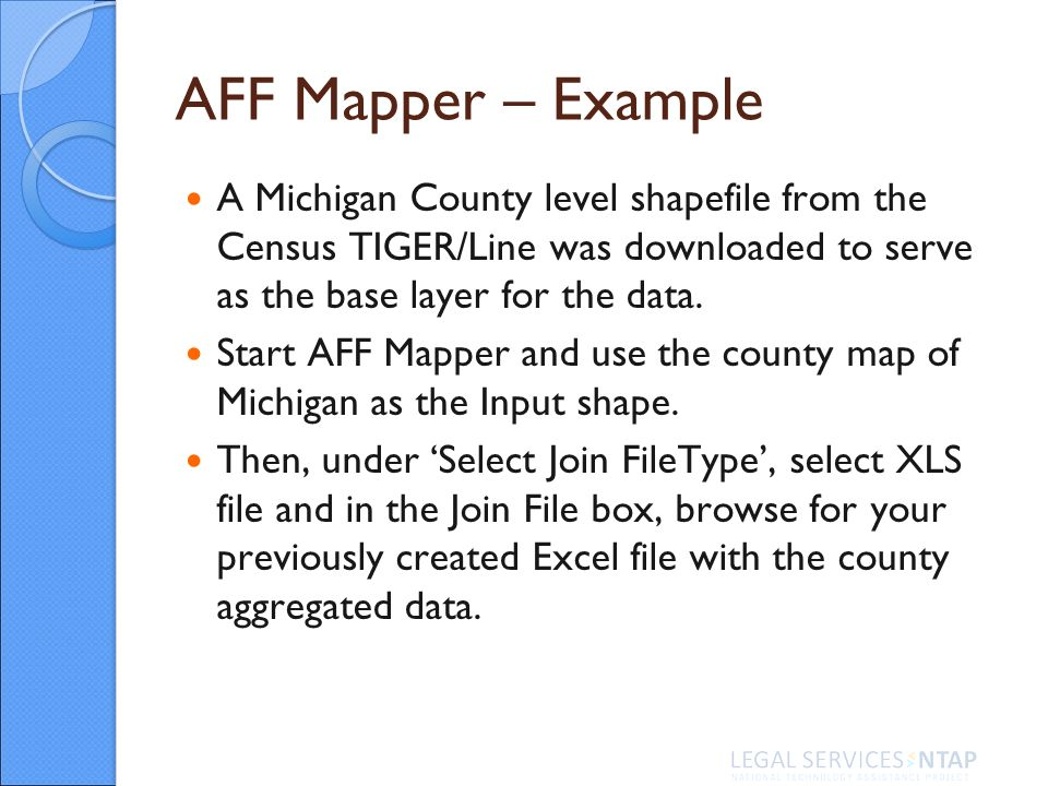 AFF Mapper – Example A Michigan County level shapefile from the Census TIGER/Line was downloaded to serve as the base layer for the data.