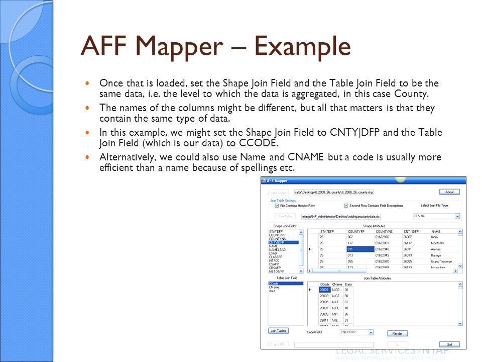 AFF Mapper – Example Once that is loaded, set the Shape Join Field and the Table Join Field to be the same data, i.e.