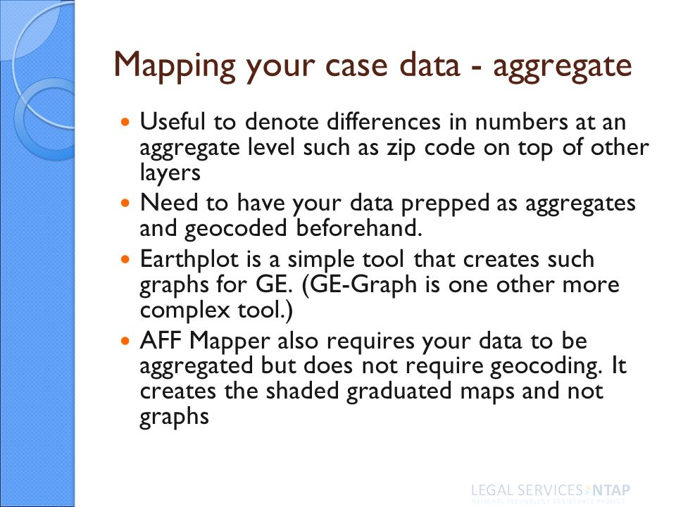 Mapping your case data - aggregate Useful to denote differences in numbers at an aggregate level such as zip code on top of other layers Need to have your data prepped as aggregates and geocoded beforehand.