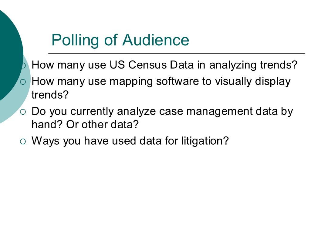 Polling of Audience How many use US Census Data in analyzing trends.