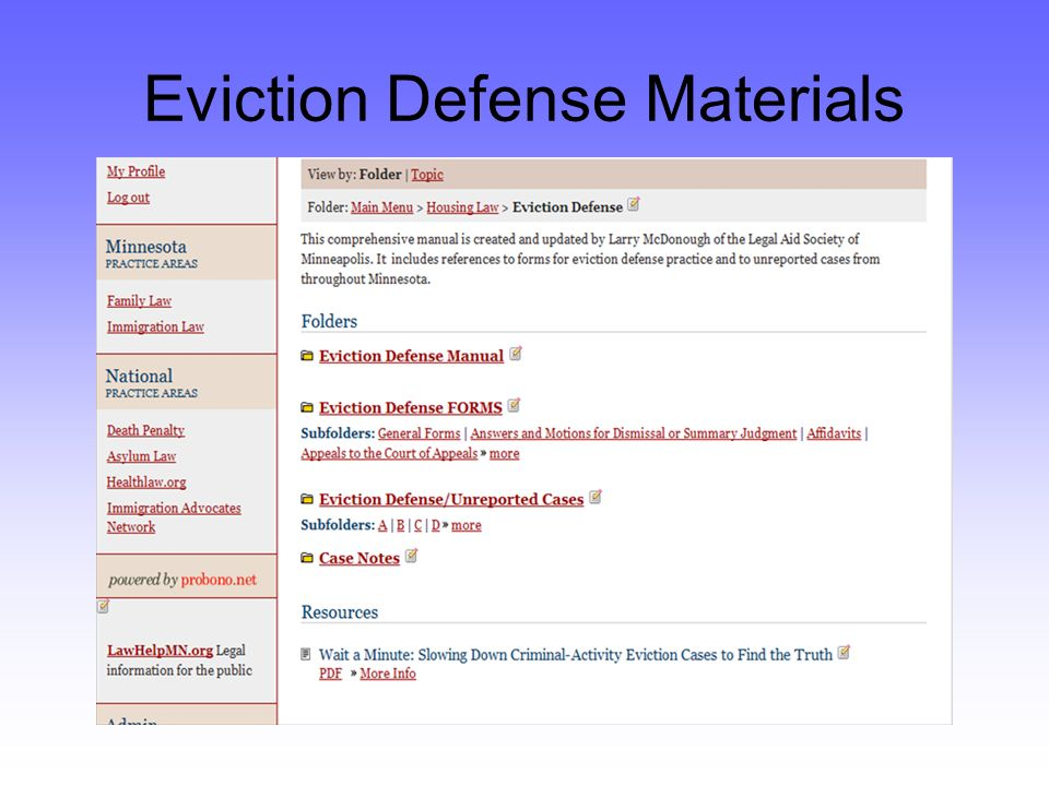 Eviction Defense Materials