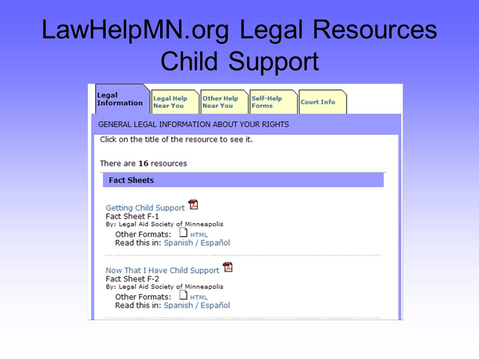 LawHelpMN.org Legal Resources Child Support