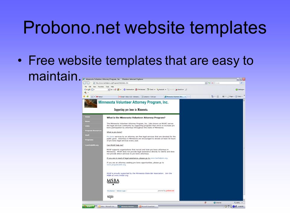 Probono.net website templates Free website templates that are easy to maintain.