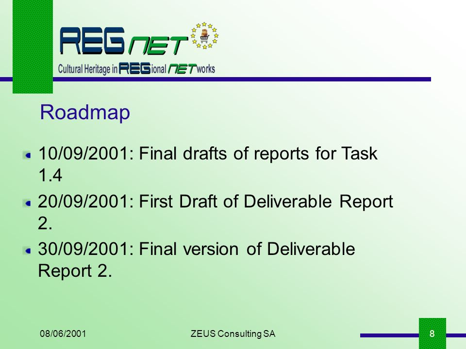 08/06/2001ZEUS Consulting SA8 Roadmap 10/09/2001: Final drafts of reports for Task 1.4 20/09/2001: First Draft of Deliverable Report 2.