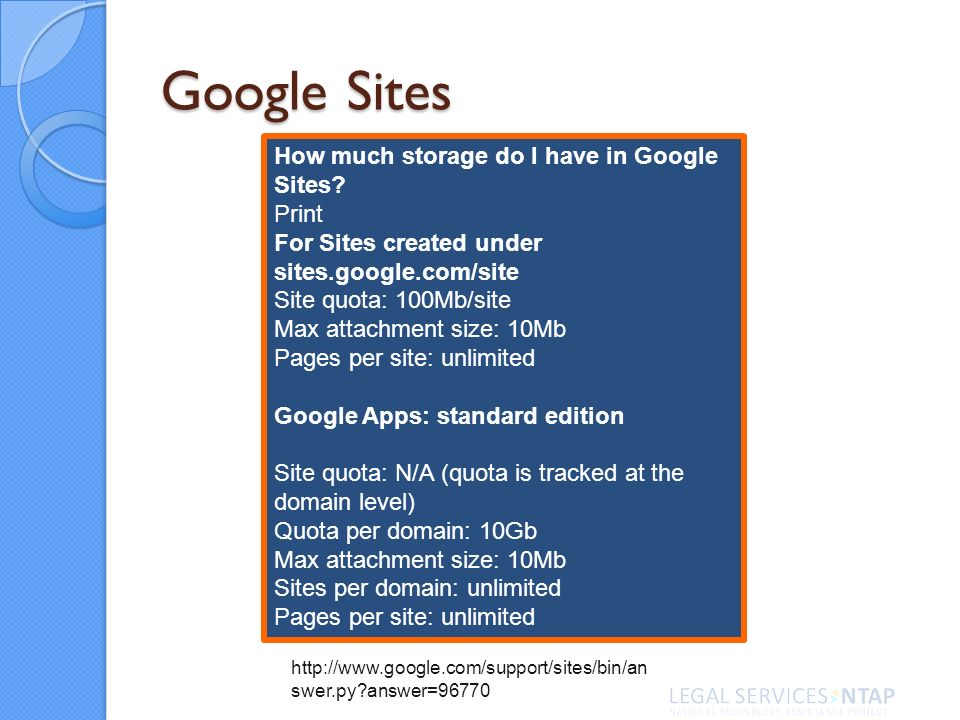 Google Sites How much storage do I have in Google Sites.