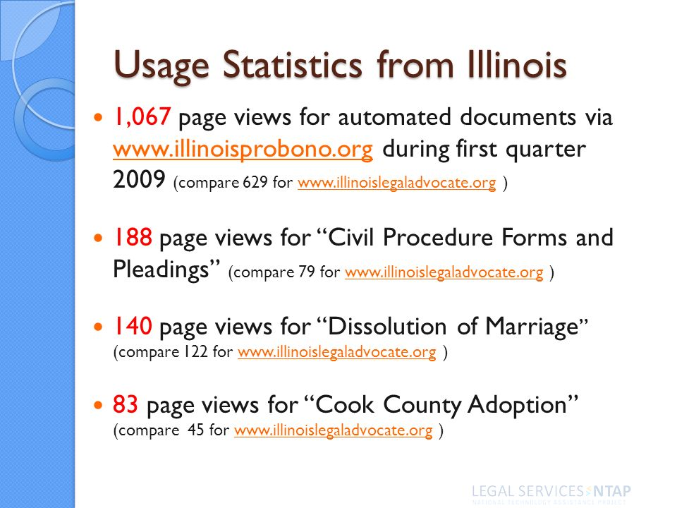Usage Statistics from Illinois 1,067 page views for automated documents via www.illinoisprobono.org during first quarter 2009 (compare 629 for www.illinoislegaladvocate.org ) www.illinoisprobono.orgwww.illinoislegaladvocate.org 188 page views for Civil Procedure Forms and Pleadings (compare 79 for www.illinoislegaladvocate.org )www.illinoislegaladvocate.org 140 page views for Dissolution of Marriage (compare 122 for www.illinoislegaladvocate.org )www.illinoislegaladvocate.org 83 page views for Cook County Adoption (compare 45 for www.illinoislegaladvocate.org )www.illinoislegaladvocate.org