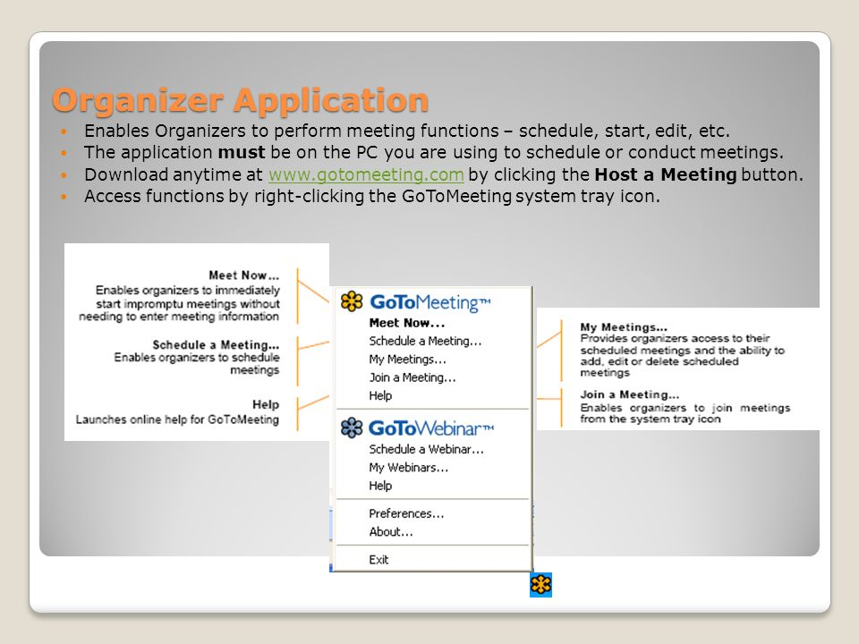 Organizer Application Enables Organizers to perform meeting functions – schedule, start, edit, etc.